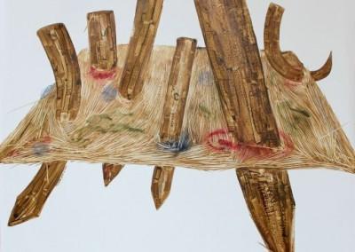 Bercekcok Tanam, 100 cm x 100 cm, pensil, cat minyak di kanvas, 2016