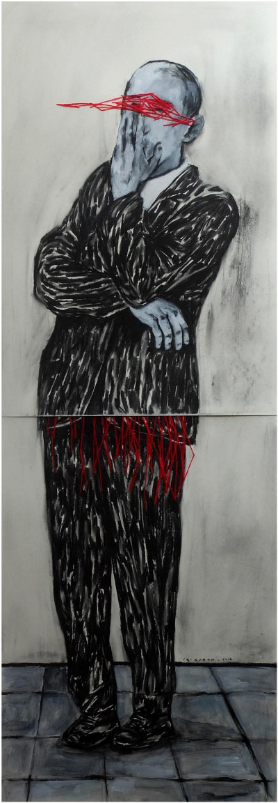 IQI QOROR Title Study Of Madness no.2 Medium Charcoal, Acrylic and wool on Paper Size 190 x 70 cm (without frame) Year 2016