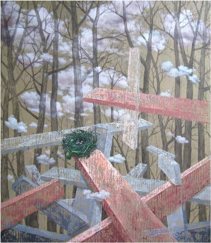 Title : A Nest Hope #2 Medium : Acrylic On Canvas Size : 140 x 120 cm Year : 2016